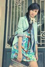 Light-blue-blazer-floral-dress-jeans-coat-eggshell-tights-white-scarf
