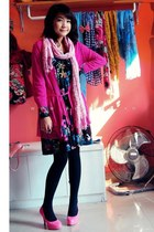 floral dress dress - black tights - bubble gum scarf - bubble gum heels
