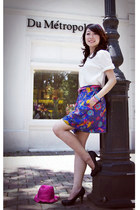magenta shiny hat - hot pink belt - deep purple floral skirt - black heels - whi