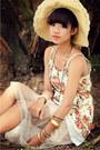 Layering-floral-dress-wide-brim-hat-layering-bracelet