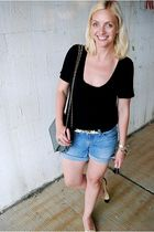 RVCA t-shirt - J Brand shorts - Chanel shoes - vintage purse - Topshop belt