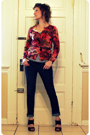 J Brand jeans - black seychelles heels - ruby red floral ikat JCrew cardigan - w