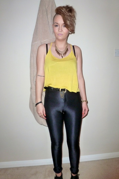 8e9e7378f9bfa Black Disco Pants American Apparel Pants, Yellow Crop Top H&M Tops ...