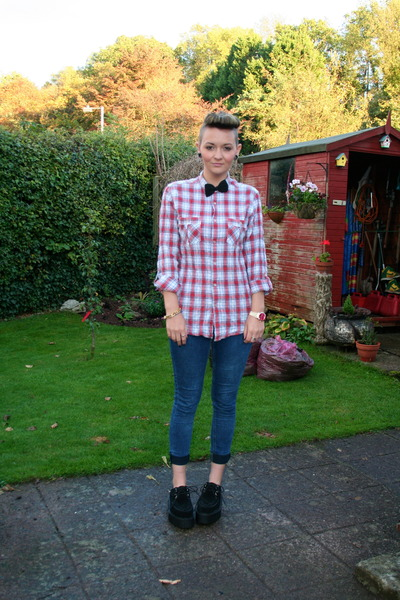 Topman shirt - Demonia shoes - Topshop jeans - charity shop tie