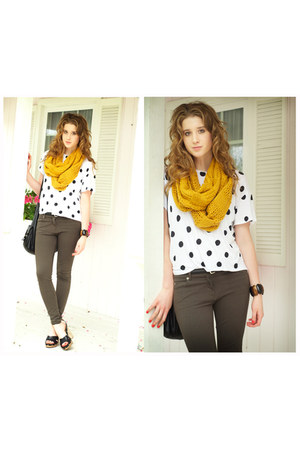 mustard Forever 21 scarf - army green Zara pants - white polka dot H&M top - bla