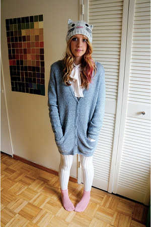 light blue Forever 21 cardigan - off white kitty Urban Outfitters hat