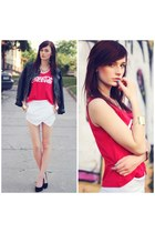 red romwe top - white Sheinside shorts