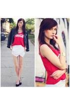 red romwe top - white Sheinside shorts