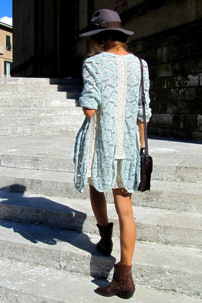 Zara boots - Zara dress - H&M hat - Zara bag - Zara cardigan - H&M belt