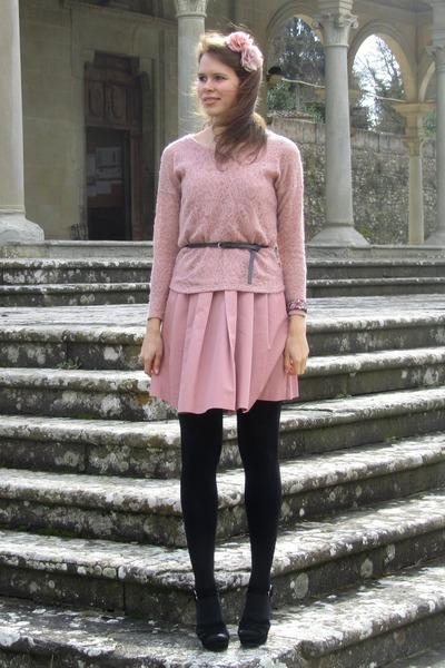 Zara dress - Pimkie sweater - Calzedonia tights - Bijou Brigitte hair accessory