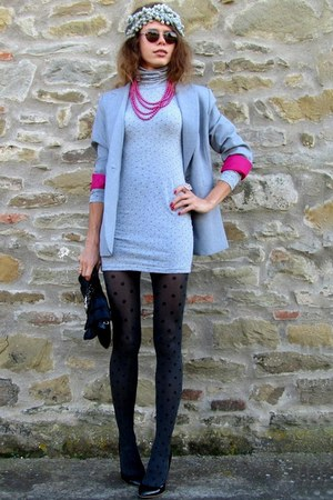 oodji dress - oodji blazer - Stradivarius tights - Gucci sunglasses - Zara heels