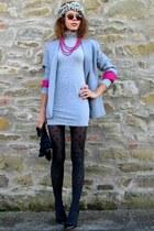 oodji dress - oodji blazer - Stradivarius tights - Gucci sunglasses - Zara heels