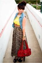 worn as skirt thrifted dress - purse - thrifted vintage belt
