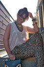 Camel-leopard-print-the-hanger-pants-charcoal-gray-bebe-bag