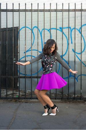 gray floral print Zara sweater - purple choiescom skirt