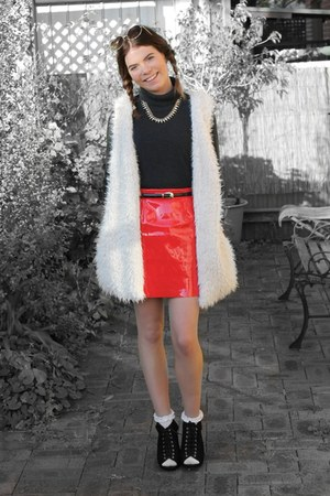red pvc plastic Valleygirl skirt - black Wittner boots
