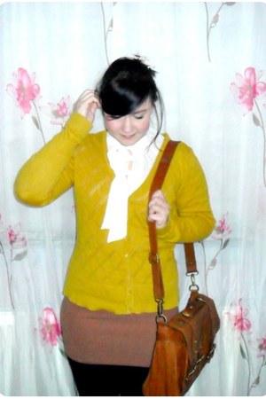 mustard H&M cardigan - tawny warehouse bag - camel H&M skirt - ivory Miso blouse
