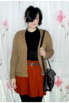 black H&M shirt - crimson Zara bag - camel Zara cardigan - carrot orange Zara sk