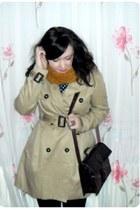 navy Zara dress - camel H&M coat - mustard Zara scarf - crimson Zara bag