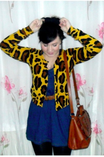 blue Zara dress - burnt orange H&M bag - gold H&M cardigan