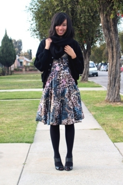 H&M scarf - vintage sweater - H&M dress - Target stockings - Target shoes