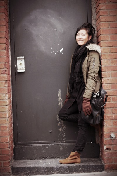 army green Zara jacket - brown Zara boots - black Zara jeans