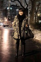 black Urban Outfitters boots - camel leopard print H&M coat - black Marc by Marc