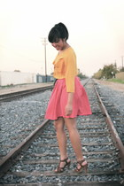 gold H&M blouse - hot pink H&M skirt - brown H&M sandals