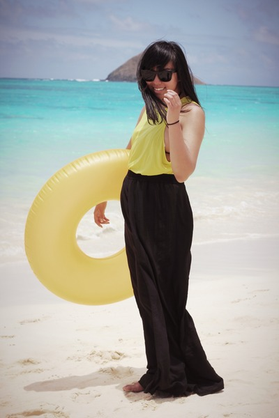 black skirt - yellow Zara shirt - black American Apparel swimwear