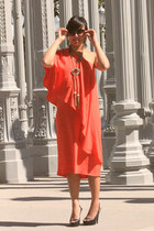 orange H&M dress - black Steve Madden heels