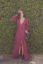 maroon Reformation dress - black Steve Madden heels