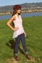 blue jeggings Urban Outfitters jeans - brown Qupid wedges - white crossroads top