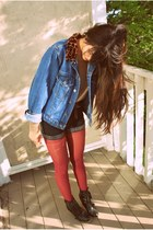 black Urban Outfitters boots - navy LEI jacket - bronze H&M sweater - brick red