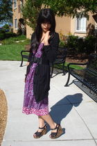purple thrifted dress - black unknown cardigan - black Wet Seal shoes - black pa