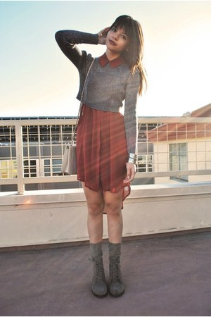 brick red shirt Lush dress - light brown paulette mia shoes boots