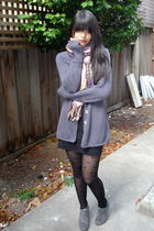 gray H&M cardigan - pink Forever 21 scarf - black Forever 21 skirt - black Forev