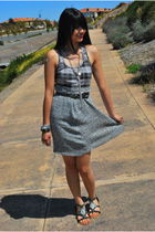 gray Mervyns top - silver vintage skirt - silver Forever 21 & Charlotte Russe ac