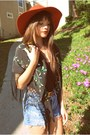 Red-rust-urban-outfitters-hat-light-blue-urban-outfitters-shorts-black-fring