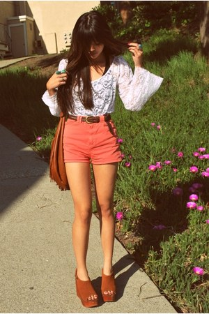 brown fringe H&M bag - coral American Apparel shorts - white lace hardcouture to