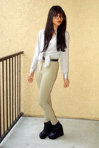 tan high-waisted American Apparel pants - black wedges Haylilly  shoes