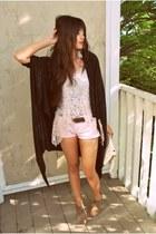 ivory vintage chanel purse - light pink jean Forever 21 shorts - black Viereck c