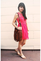 tawny fringe H&M bag - coral organza lace nectar clothing dress