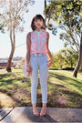 Light-blue-h-m-jeans-light-pink-blouse-stud-papaya-clothing-shirt