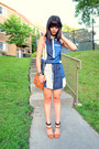 Navy-denim-polka-dot-viva-vena-dress-bronze-mini-mac-rebecca-minkoff-bag