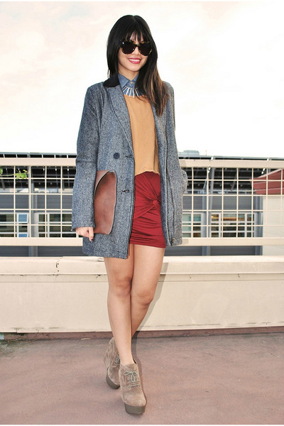 maroon twisted 2020AVE skirt - charcoal gray crossroads coat
