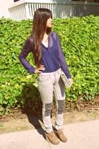 heather gray volcom jeans - ivory vintage chanel bag - navy sheer American Appar
