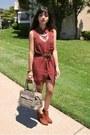 Bronze-chelsea-h-m-boots-maroon-chiffon-shirt-lush-dress