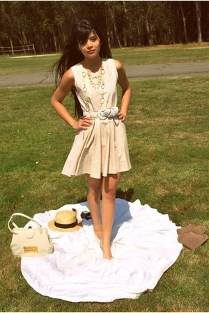 light pink lotus flower Casper&amp;Pearl dress - tan boater thrifted hat - ivory vin