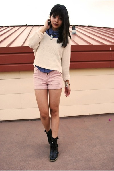 light pink Alexa Chung For Madewell shorts - black Urban Outfitters boots