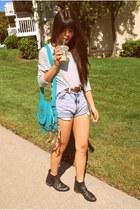 light blue Levis shorts - dark brown chelsea asos boots